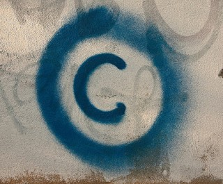 Blue Graffiti Copyright Symbol