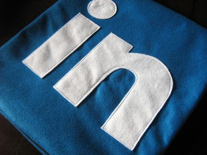 LinkedIn logo on blue surface