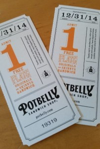 Potbelly Movie-Ticket Style Coupons
