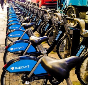 Row of Barclay's Bank bicycles