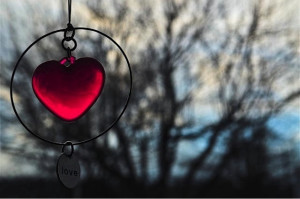 Red heart, hanging outdoors